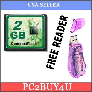 Standard 2GB Compact Flash CF Card + CF USB reader