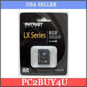 Patriot Memory Patriot Class 10 8GB Secure Digital High-Capacity (SD  /  SDHC) Flash Card Model PSF8GSDHC10